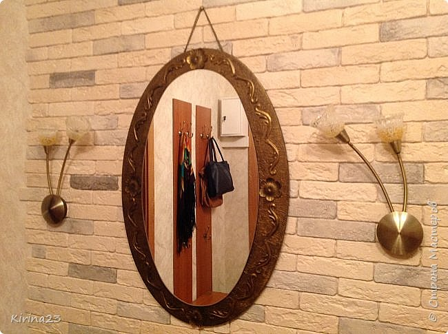Старинное зеркало из потолочной розетки http://stranamasterov.ru/node/792929 переехало жить в спальню.  Надо было его чем-то заменить . Вот что сотворилось... фото 6