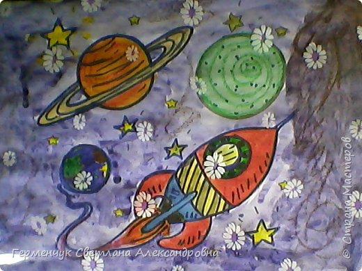 "Раскраски -фантазии на тему ""Космос"" -  ребят 4""В"" класса  ко Дню Космонавтики.  Веселый Гуманоид фото 12"