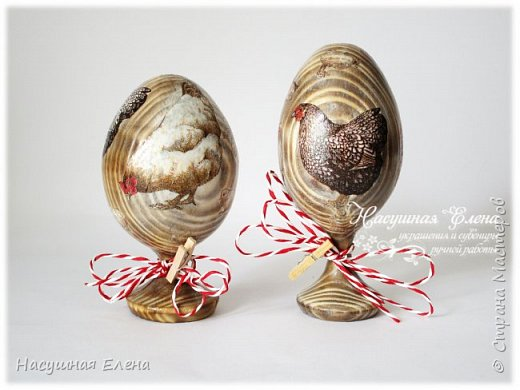Здравствуйте! Скоро праздник Светлой Пасхи и я, конечно, сделала новенькие работы к празднику. Хотя их не очень много, но все же решила Вам показать. В основном делала в технике декупаж. И первые в списке яйца... фото 1