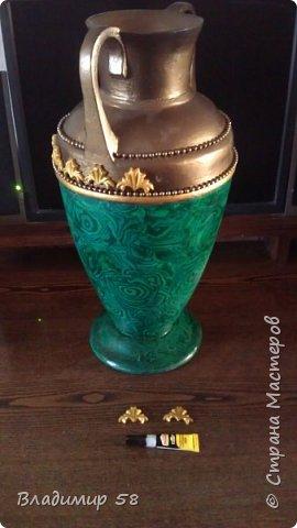 Лепка о.рнамента на готовую вазу фото 7