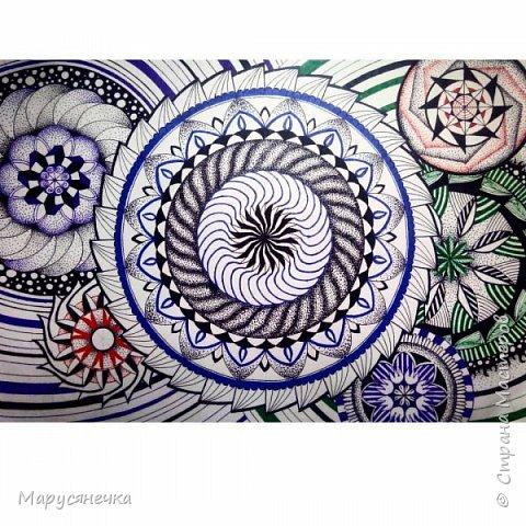 Эту мандалу я еще рисовала гелевой ручкой. Очень она мне понравилась))  фото 3