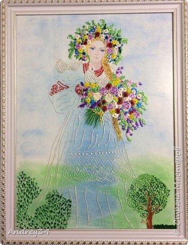 """Эта картина, на которой изображена Женщина - с рекой России. Взял акварельный картон, нарисовал пастельными карандашами природу, затем положил стекло под фон, нарисовал контуром основу женщины, потом деревья, цветы России, и в конце напечатал лицо девушки... Кстати, я ведь портреты не всегда получается нарисовать контуром! Для меня пока сложновато, в будущем надеюсь получится! И картина готова! Она была отправлена на конкурс """"Вода России""""."""