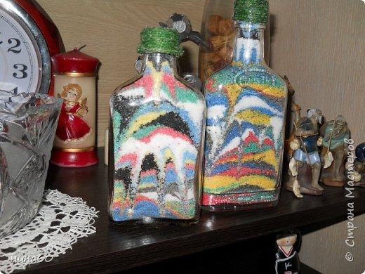 Бутылки с солью -, а  сзади пробовала под камень-но ужасный отблеск и плохо видно-в натуре -они лучше... фото 2