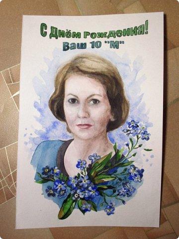 Портрет в подарок учителю. Акварель. Формат А4. Отправился в Москву. фото 2