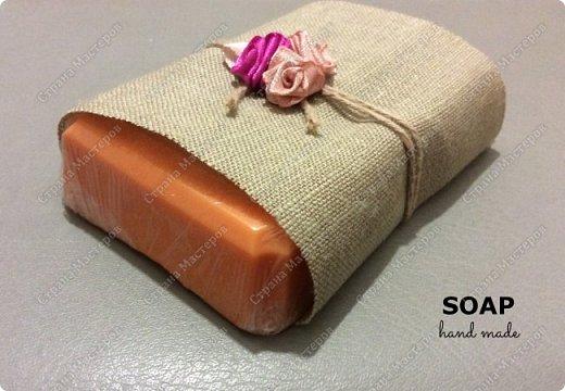 Мыло сделано из мыльной основы с добавлением натурального масла апельсина и масла виноградной косточки. Пищевой краситель. фото 2