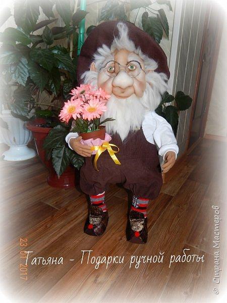 Гном садовник любит сад  каждому цветочку рад  всё прополет и польёт без него весь сад умрёт фото 1