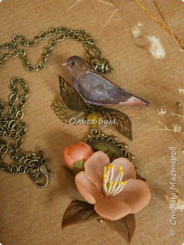 "Кулон с птичкой ""Нескучный сад"" фото 1"
