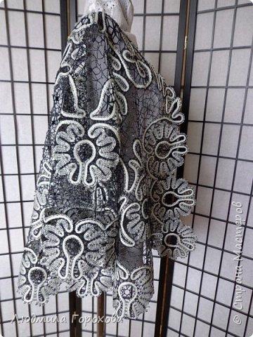 """Жакет""""Надежда""""кружевной сплетен на коклюшках . Нитка хлопок серого и черного цвета , фото 4"""