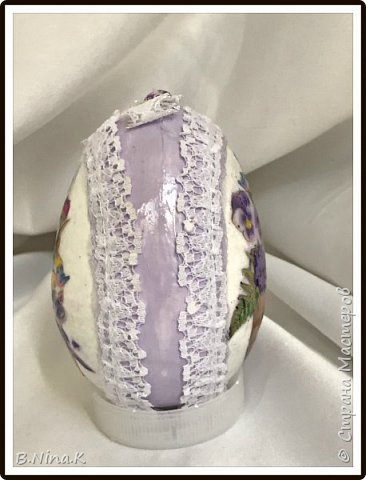 Добрый день всем жителям Страны Мастеров. Закончила подготовку к Пасхе.  Яйца пластиковые, акриловая краска, лак, распечатка, кружево. фото 2