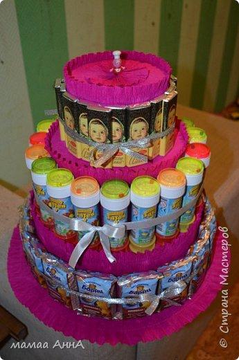 Здравствуйте, жители СМ! Давно хотела сделать такой торт. И вот появился повод. Дочка пошла в садик, и скоро ей 4  годика. Тортик рассчитан на 19 ребятишек.Спасибо olyat за МК http://stranamasterov.ru/node/925799?c=favorite фото 1