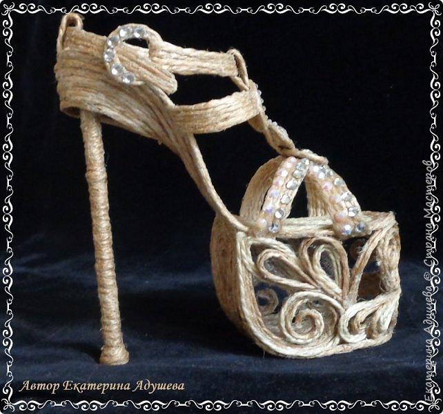 Здравствуйте всем  кто заглянул ко мне на страницу ! Хочу предоставить Вашему вниманию еще одну маю работу, идея появилась совсем случайно видимо весна влияет охота уже  одеть более легкую обувь. Но эта работа такая для домашнего декора. фото 4