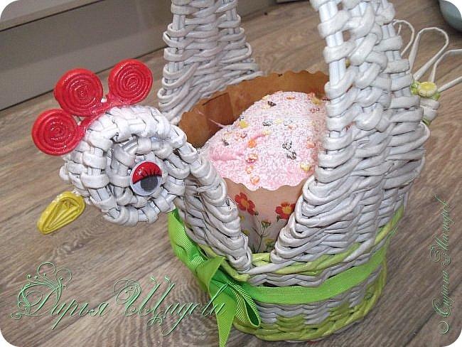 Дорогие друзья! Сердечно поздравляю вас с праздником Светлой Пасхи!  Это мои куличики и крашенки в специально сплетенном по случаю подносе. И, конечно же, курочка по МК Лидии фото 3