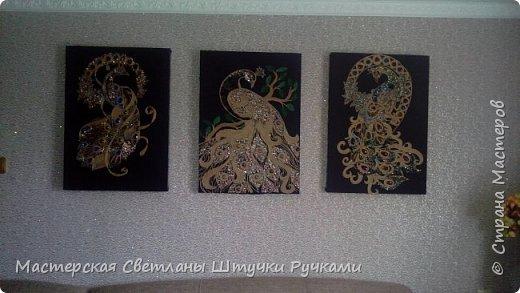 Наконец я закончила три картины да бы украсить стену на которую я очень долго заглядывалась.правда теперь я отказалась от стёкла мне так больше нравится исчезли блики и стал заметен обьем . фото 1