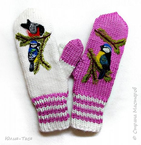 Бело-розовые рукавички с птичками