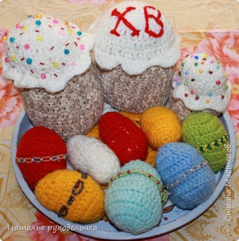 """Доброе утро, """"Страна Мастеров""""!. С Пасхой Вас всех в этот праздник. У меня получился вот такой пасхальный набор к этому замечательному празднику. Связала разноцветные яйца, две пасхи и небольшую салфетку. фото 3"""