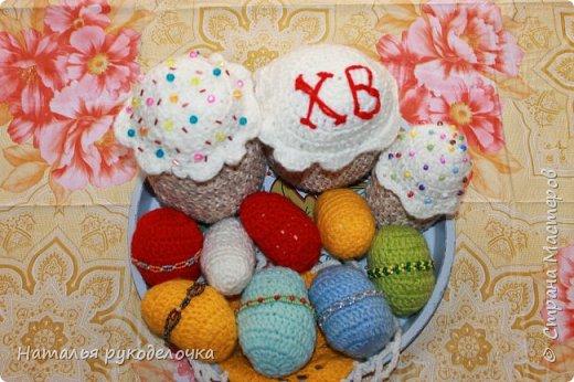 """Доброе утро, """"Страна Мастеров""""!. С Пасхой Вас всех в этот праздник. У меня получился вот такой пасхальный набор к этому замечательному празднику. Связала разноцветные яйца, две пасхи и небольшую салфетку. фото 5"""