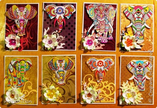 3 этап – Индия и обязательная деталь слоник, который в Индии считается священным животным, олицетворяя мудрость, благоразумие и силу. Нечего кроме распечатки в голову не пришло, но так как у меня нет дома принтера, а на работе только черно-белый – получились вот такие раскрашенные слоники. Ну и попыталась изобразить национальный цветок Индии лотос – этот священный цветок занимает уникальное место в искусстве и мифологии древней Индии. С незапамятных времен он считается счастливым символом индийской культуры.   фото 1