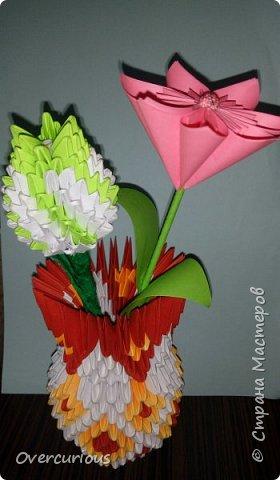 Тюльпан и ромашка в вазе. фото 1