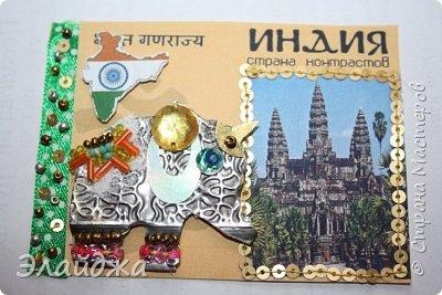 Тема:Индия, обязательное условие  наличие Слона Правила этапа совместника условия тут (http://stranamasterov.ru/node/1087039 ). Индийский слон- наверное самое красивое  животное, украшенное  человеком. В индии даже есть индийский бог Ганеша  ,в образе Слона олицетворяющий мудрость.На территории Индиии  очень много храмов, стены которых украшают необыкновенные  статуи богов с телом человека и головой животных  . Просто наклеить распечатки я не хотела, ведь АТСка это маленькая необычная карточка..будем делать ее необычной... фото 15