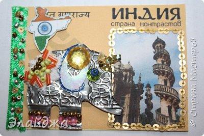 Тема:Индия, обязательное условие  наличие Слона Правила этапа совместника условия тут (http://stranamasterov.ru/node/1087039 ). Индийский слон- наверное самое красивое  животное, украшенное  человеком. В индии даже есть индийский бог Ганеша  ,в образе Слона олицетворяющий мудрость.На территории Индиии  очень много храмов, стены которых украшают необыкновенные  статуи богов с телом человека и головой животных  . Просто наклеить распечатки я не хотела, ведь АТСка это маленькая необычная карточка..будем делать ее необычной... фото 17