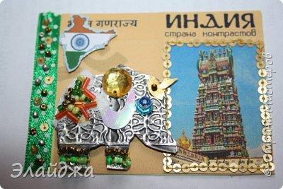 Тема:Индия, обязательное условие  наличие Слона Правила этапа совместника условия тут (http://stranamasterov.ru/node/1087039 ). Индийский слон- наверное самое красивое  животное, украшенное  человеком. В индии даже есть индийский бог Ганеша  ,в образе Слона олицетворяющий мудрость.На территории Индиии  очень много храмов, стены которых украшают необыкновенные  статуи богов с телом человека и головой животных  . Просто наклеить распечатки я не хотела, ведь АТСка это маленькая необычная карточка..будем делать ее необычной... фото 18
