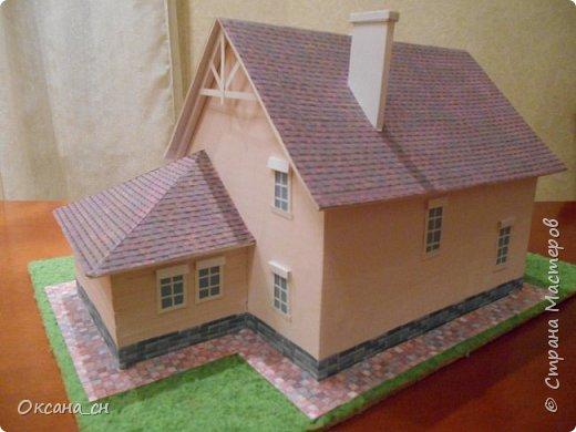 Дорогие мастера, хочу предложить небольшой МК по изготовлению макета загородного дома. Жилой дом изготовлен из картона и представляет собой двухэтажный дом с балконом, террасой, зимним садом, гаражом и выходами с двух сторон. Проект дома я взяла здесь: http://piterplan.ru/projects-of-the-houses-from-concrete/projects-2-floors/4643-nadejda-123pp.html Чтобы изготовить макет загородного жилого дома нам необходимо иметь: лист ДВП размером 45 х 32 см, толстый картон из ящиков, белый картон, двустороннюю бумагу вишневого и сине-серого цветов, распечатанные фактуры камня на фундамент, брусчатки, плитки на террасу, черепицы на крышу, водоэмульсионную краску розового цвета, канцелярский нож, клей «Титан», линейка, карандаш. Можно приступать к работе... фото 20