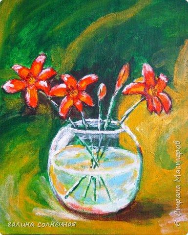 """Весна. Она близко. Новая картина """"Фиалки"""" написана акриловыми красками на плотной бумаге. Посмотрите и зарядитесь весенним настроением. фото 4"""