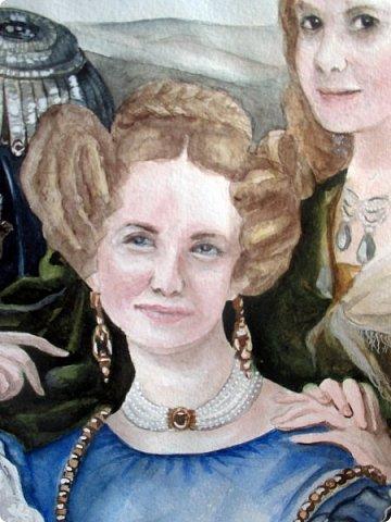 Семейный портрет в стиле 19 века. Акварель. Формат А2.   фото 9