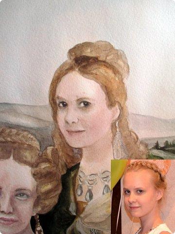 Семейный портрет в стиле 19 века. Акварель. Формат А2.   фото 14