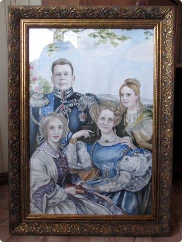 Семейный портрет в стиле 19 века. Акварель. Формат А2.   фото 11