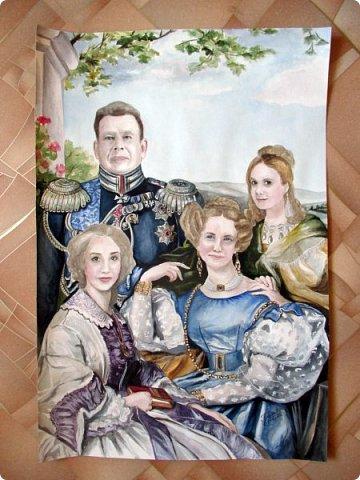 Семейный портрет в стиле 19 века. Акварель. Формат А2.   фото 2