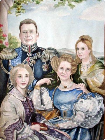 Семейный портрет в стиле 19 века. Акварель. Формат А2.   фото 1