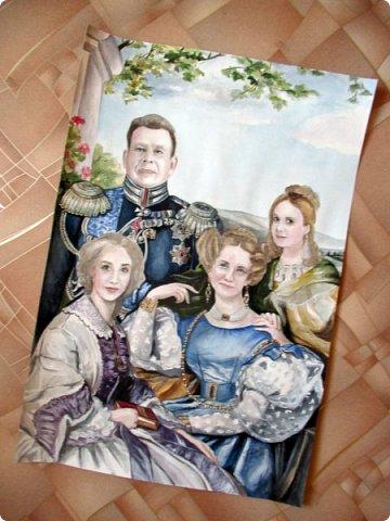 Семейный портрет в стиле 19 века. Акварель. Формат А2.   фото 3