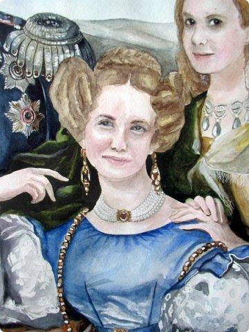 Семейный портрет в стиле 19 века. Акварель. Формат А2.   фото 5