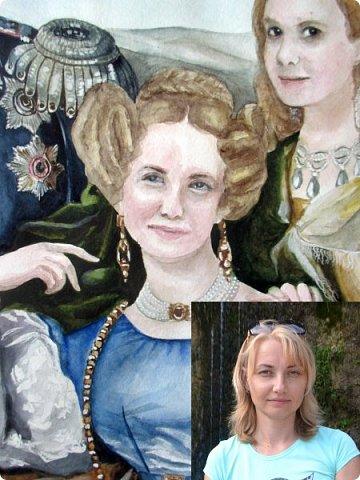 Семейный портрет в стиле 19 века. Акварель. Формат А2.   фото 18