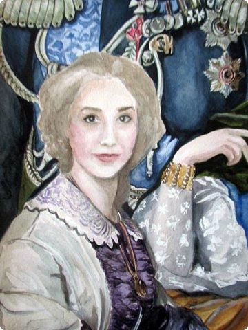 Семейный портрет в стиле 19 века. Акварель. Формат А2.   фото 6