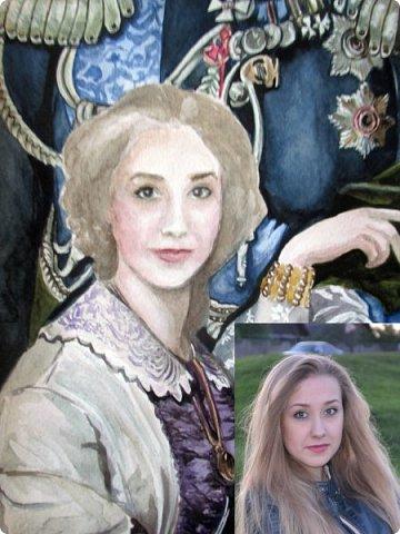 Семейный портрет в стиле 19 века. Акварель. Формат А2.   фото 20