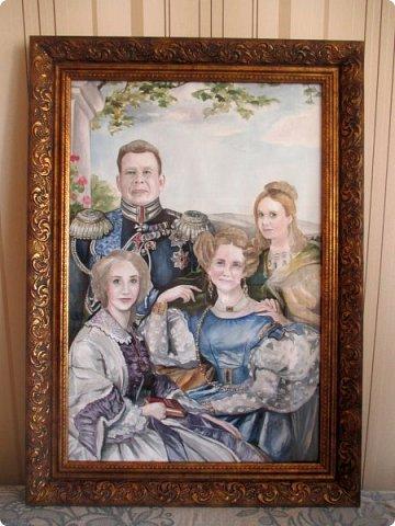 Семейный портрет в стиле 19 века. Акварель. Формат А2.   фото 12