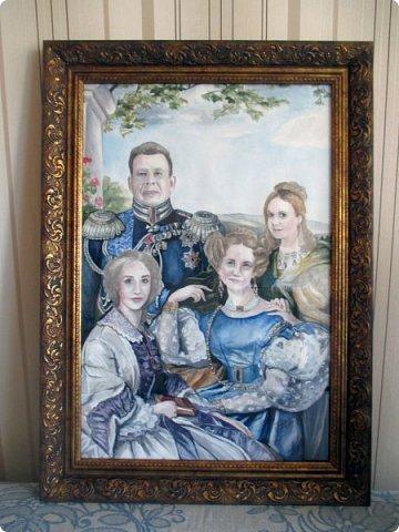 Семейный портрет в стиле 19 века. Акварель. Формат А2.   фото 13