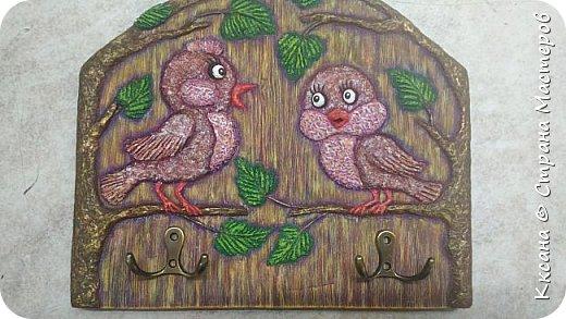 Здравствуйте!! очень нужен совет - на очередной ключнице - вот не пойму в чем дисбаланс - птички сливаются с фоном , а как что и каким цветом дополнить - не пойму , просто мука каждый раз как надо раскрашивать работу((( фото 5