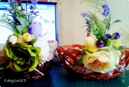 Всем привет! Сегодня покажу и похвастаюсь пасхальными приготовлениями))) В этом году очень захотелось сделать корзинку с объемными большими цветами - и вот, что у меня вышло))) фото 3