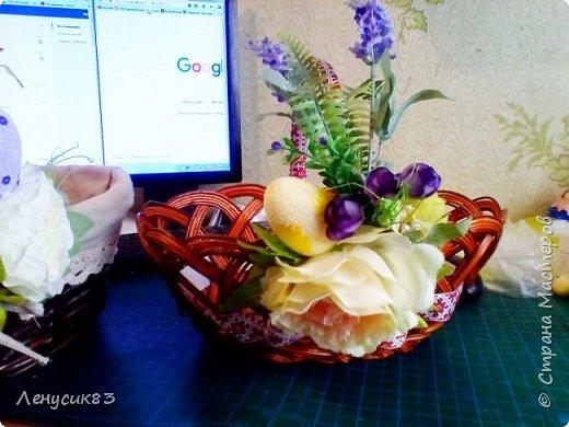 Всем привет! Сегодня покажу и похвастаюсь пасхальными приготовлениями))) В этом году очень захотелось сделать корзинку с объемными большими цветами - и вот, что у меня вышло))) фото 5
