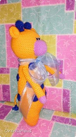 Апельсиновый жирафик. В подарок очаровательной малышке. ≈32 см детской радости. фото 2