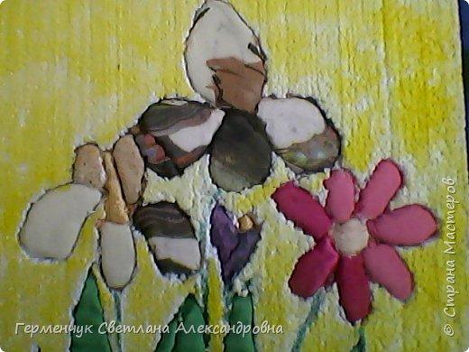 """""""Весенние цветы""""- работа  Будько Яны -4 класс в технике пэчворк   без иголки на пенопласте .Яночка  - Очень шикарная работа!!!БРАВО!!! фото 3"""