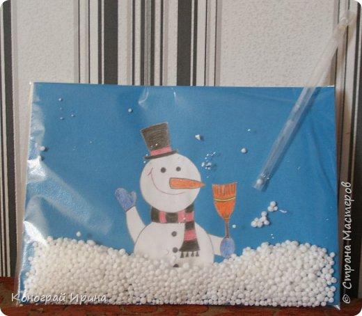 """На дворе Весна, а у нас вчера снова шёл снег.  Мы с сыночком решили сделать забавную поделку на """"снежную"""" тему. фото 1"""
