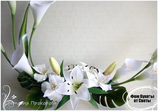 """Интерьерная композиция """" Цветочная ладья"""" белые каллы из фоамиран. фото 3"""