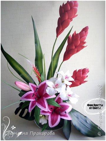 Композиция с цветами имбиря из фоамирана фото 1
