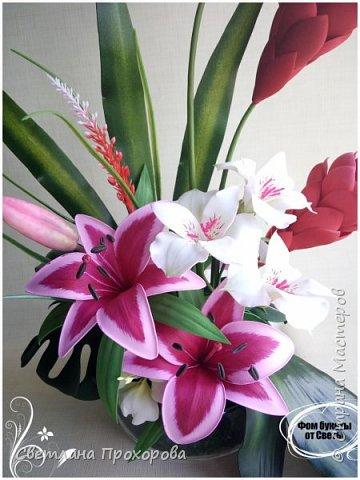Композиция с цветами имбиря из фоамирана фото 2