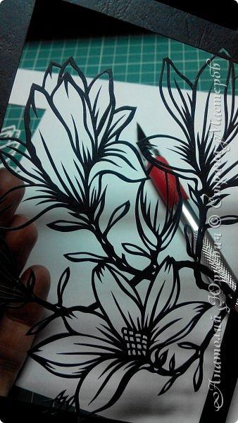 """Всем добрый день! Новая открыточка """"Магнолия"""". Рисунок для эскиза был взят из интернета,  изменён и доработан под """"вырезалку"""". Размер 12х16см. фото 2"""