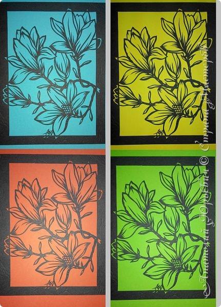 """Всем добрый день! Новая открыточка """"Магнолия"""". Рисунок для эскиза был взят из интернета,  изменён и доработан под """"вырезалку"""". Размер 12х16см. фото 5"""